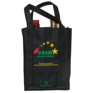 Eco-friendly Black 4 Bottle Wine Bag